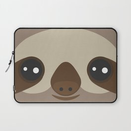funny and cute smiling Three-toed sloth on brown background Laptop Sleeve