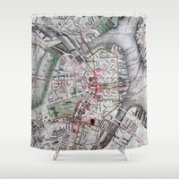 boston map Shower Curtains featuring Boston Old Map Photography by Eyne Photography