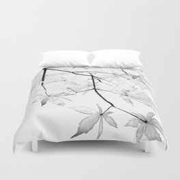 black and white maple leaves Duvet Cover