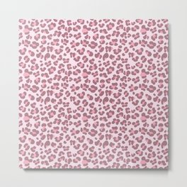 Baby pink Leopard Metal Print