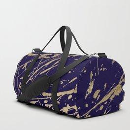 Elegant faux gold modern navy blue paint splatters Duffle Bag