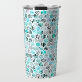 Blue & Gray Marble Geometric Hexagon Pattern Travel Mug