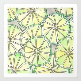 Funky Lime Slices Art Print