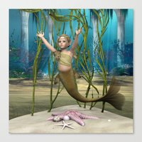 little mermaid Canvas Prints featuring Little Mermaid by Design Windmill