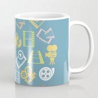 cinema Mugs featuring Cinema circle by aleksander1