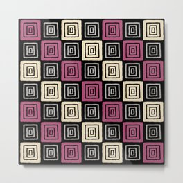 Mid Century Modern Geometric Checker 930 Metal Print