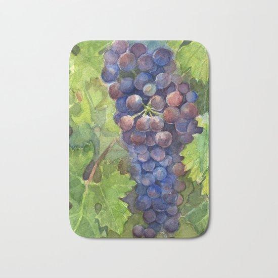 Grapes Watercolor Fruit Food Wine Lovers Bath Mat