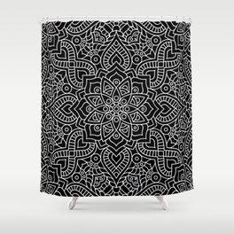 Black Monochrome Mandala Shower Curtain