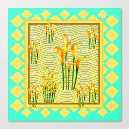 Turquoise Yellow Diamond Design Calla Lilies Canvas Print