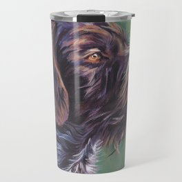 German Wirehaired Pointer dog art portrait from an original painting by L.A.Shepard Travel Mug
