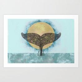 Sunset Whale Art Print