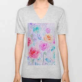 Watercolor Abstract Ranunculus Pattern Unisex V-Neck