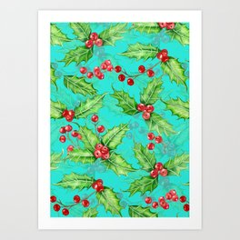 Holly berry watercolor Art Print