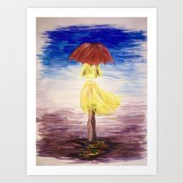 Walkin' in the rain Art Print