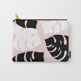 Palm Leaves on Pink Carry-All Pouch