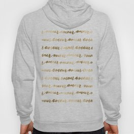 Amour French Love Script Gold Typography Pattern 2 Hoody