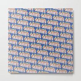 Aries Trendy Rainbow Text Pattern (Blue) Metal Print