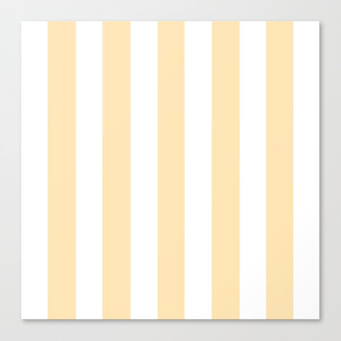 Peach pink - solid color - white vertical lines pattern Canvas Print by  makeitcolorful