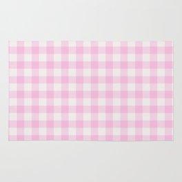 Blush pink white gingham 80s classic picnic pattern Rug