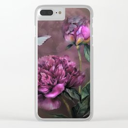 PURPLE PEONY Clear iPhone Case