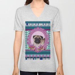 Frame Pug - Mops colorful Pattern Unisex V-Neck