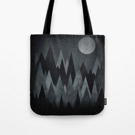 Dark Mystery Abstract Geometric Triangle Peak Wood's (black & white) Tote Bag