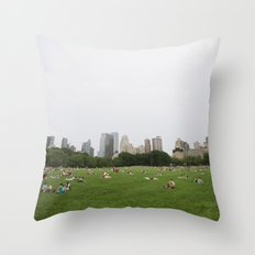 Sheep Meadow, Central Park, NYC Throw Pillow