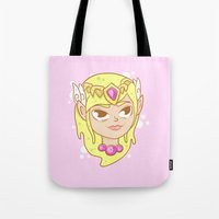 the legend of zelda Tote Bags featuring  Zelda  by HypersVE