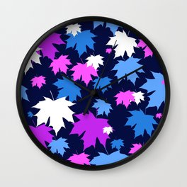 Autumn leaves in purple and blue colors Wall Clock