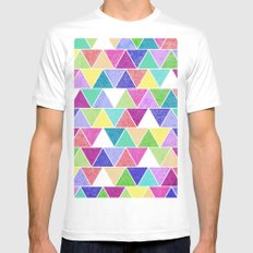Triangle Print; Mens Fitted Tee White MEDIUM