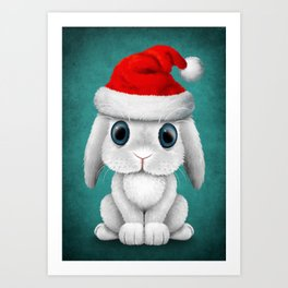 White Floppy Eared Baby Bunny Wearing a Santa Hat Art Print
