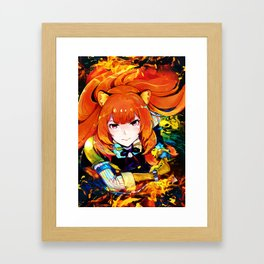 Colorful raccoon on fire Framed Art Print