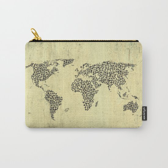 Black Star World Map Carry-All Pouch