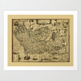 Baptista Boazio's Irlandiæ (Ireland Map circa 1606) Art Print