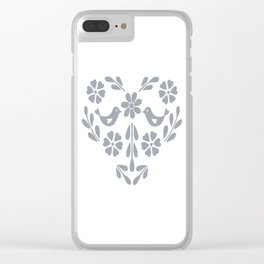 Silver heart shaped floral and birds Clear iPhone Case