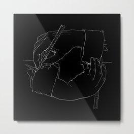 Drawing Hands (Black) - Line art from Escher Metal Print
