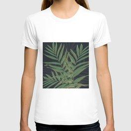 Trendy Green Palm Leaves Gold Strokes Gray Design T-shirt