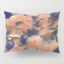 Peach Blue colorful watercolor design Pillow Sham