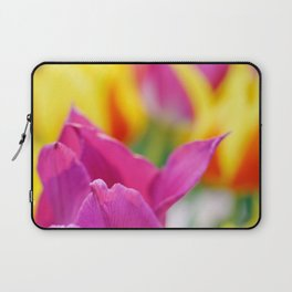 Group of fresh pink, yellow and red tulips in a garden. Nice floral abstract background. Laptop Sleeve