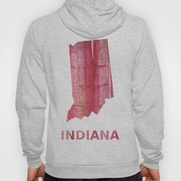 Indiana map outline red stained wash drawing pattern Hoody