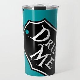 """""""Drink Me"""" Alice in Wonderland styled Bottle Tag Design in 'Alice Blue' Travel Mug"""