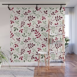 Assorted Leaf Silhouettes Ptn Reds Greens Cream Wall Mural
