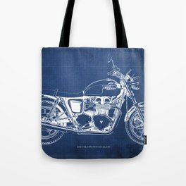 2010 Triumph Bonneville SE, motorcycle blueprint, husbands gift, offer, original poster, fathers day Tote Bag