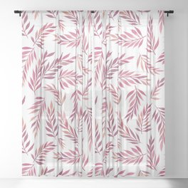 Tropical Leaves Pattern | Warm Pink Sheer Curtain