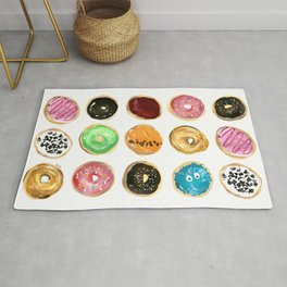 Dozen of colorful donuts Rug