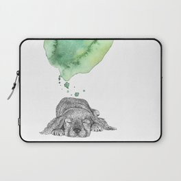Dreaming Puppy - Green Watercolor Laptop Sleeve