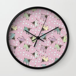 Pajama'd Baby Goats - Pink Wall Clock