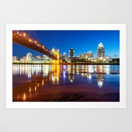 Ohio River Reflections of the Downtown Cincinnati Skyline Art Print