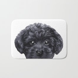 Black toy poodle Dog illustration original painting print Bath Mat