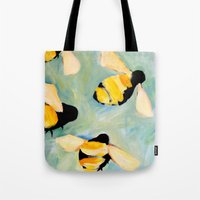 bees Tote Bags featuring Bees by Claire Whitehead
